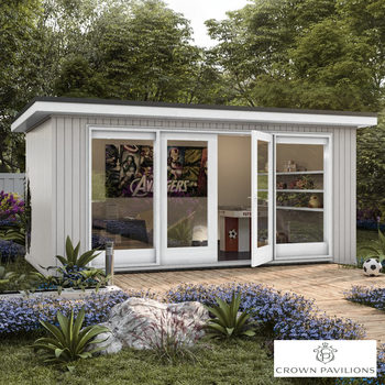 "Installed Crown Pavilions 16ft 5"" x 11ft 5"" (5 x 3.5m) Hardwood Garden Room, Fully Insulated, Double Glazed and Pre-Wired"