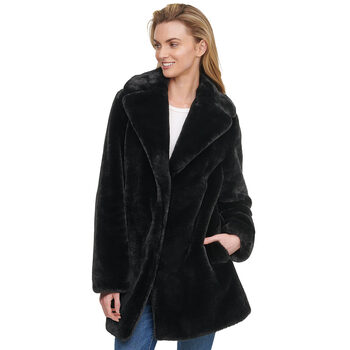 Andrew Marc Women's Faux Fur Shawl Collar Coat in 2 Colours and 4 Sizes