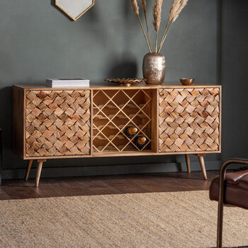 Gallery Tuscany Burnt Wax Wine Rack Sideboard