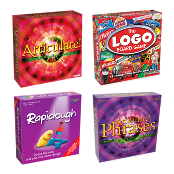 Family Board Games Bundle: Articulate, Articulate Phrases, Logo Board Game and Rapidough