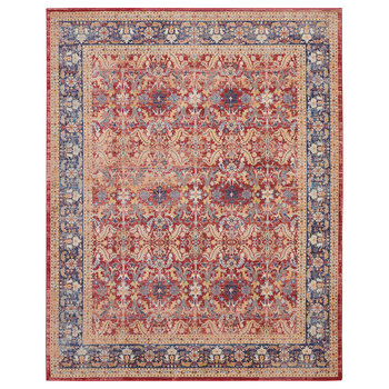 Ankara Red Traditional Bordered Rug in 2 Sizes