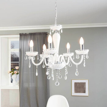 Eglo Carpento 5 Light Chandelier in Polished Chrome and White Glass