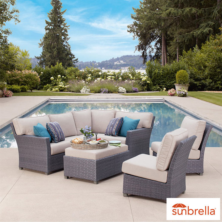 Pacific Casual Westchester 7 Piece Woven Sectional Seating