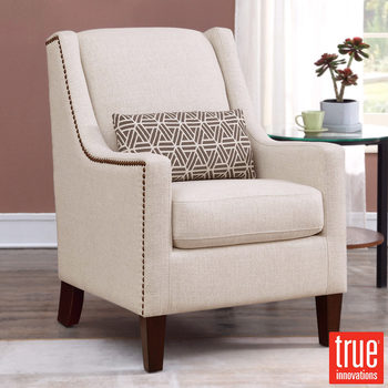 True Innovations Sophia Cream Fabric Chair with Accent Pillow