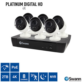 Swann 8 Channel 2TB NVR with 6 x 4K Ultra HD Bullet IR Night Vision & Thermal Sensing PIR Security Cameras
