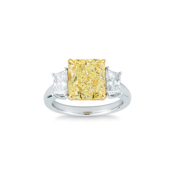 5.04ct Radiant Cut Fancy Yellow and 6.17ctw Trapezoid Cut Diamond Ring, Platinum and 18ct Yellow Gold