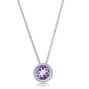 Round Cut Amethyst Pendant, 14ct White Gold
