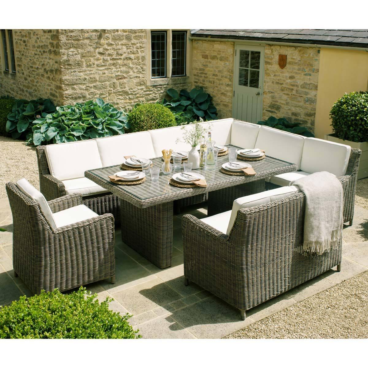 Royal Kensington 12 Piece Handwoven Modular Garden Dining Set + Cover   Costco UK