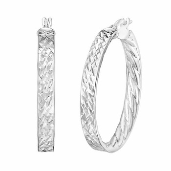 14ct White Gold Hoop Earrings