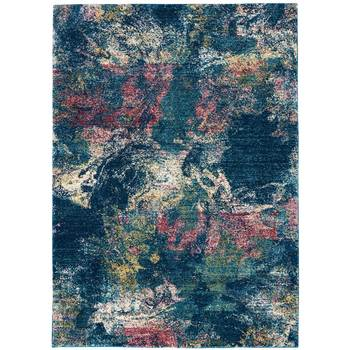 Fusion Deep Navy Abstract Rug in 2 Sizes