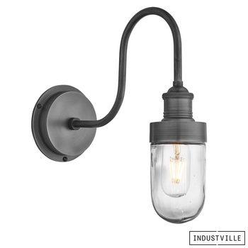 Industville Swan Neck Outdoor and Bathroom Wall Light in 3 Colours