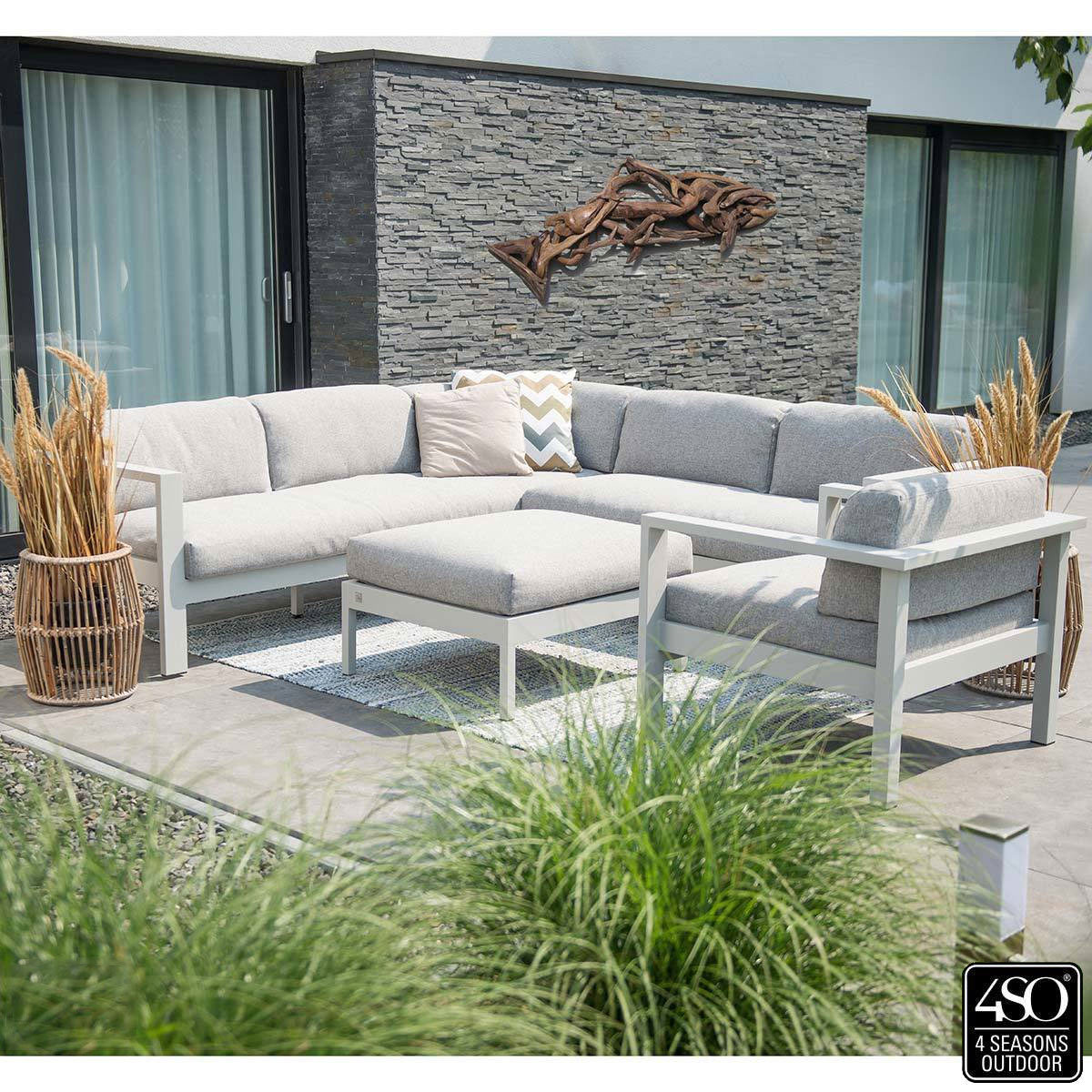 4 Seasons Outdoor Saxon 4 Piece Corner Lounge Set Left Arm Rest Costco Uk