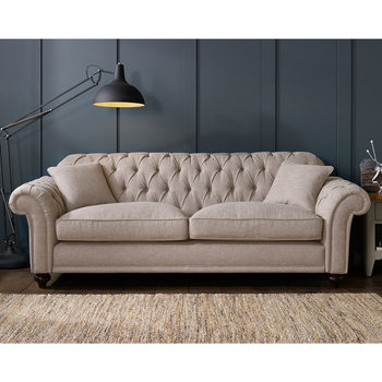 Bordeaux Button Back 4 Seater Fabric Sofa in 2 Colours