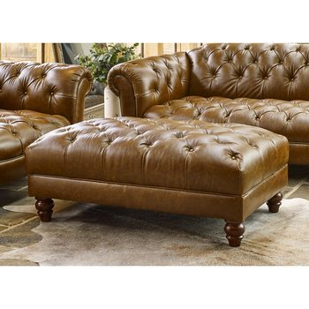 Wellington Semi Aniline Leather Chesterfield Footstool, Caramel