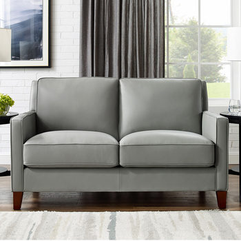 West Park 2 Seater Light Grey Leather Sofa