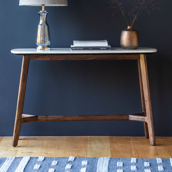Gallery Mataro White Marble Top Console Table