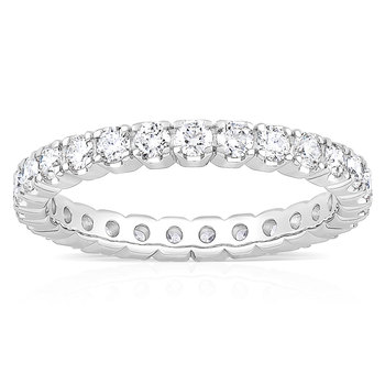 1.00ctw Round Brilliant Cut Claw Set Diamond Eternity Ring, 18ct White Gold in 6 Sizes