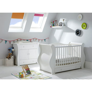 Tutti Bambini Marie Cot Bed, Mattress + Chest Changer, White