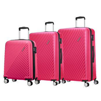 American Tourister Visby 3 Piece Hardside Suitcase Set, Raspberry