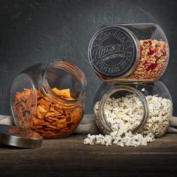 Mason Tilted Glass Jars, 3 Piece Set