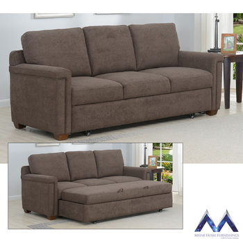 Mstar Arlene 3 Seater Brown Fabric Convertible Sofa Bed