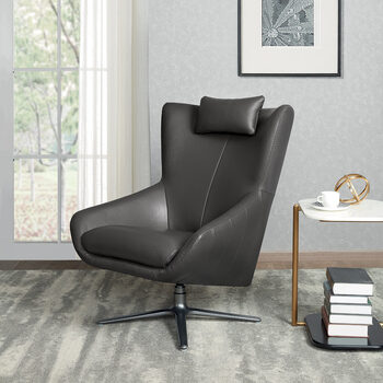 Kuka Grey Leather Accent Swivel Chair