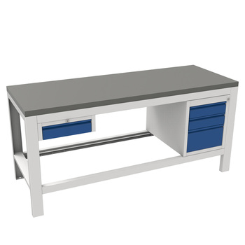 Bisley ToolStor Basics Storage Workbench with 3 Drawers and Cupboard and Steel Grey Lino Worktop - (1500 x 840 x 750mm) - 300kg Capacity