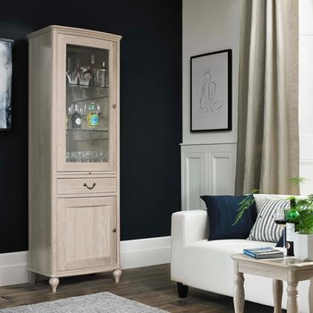 Bentley Designs Margaux Chalk Oak Mirrored Back Drinks Cabinet