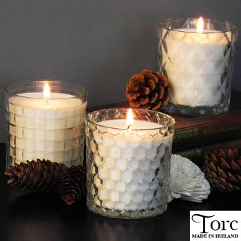 Torc Fragranced Textured Glass Candles, 3 Pack in 2 Colours