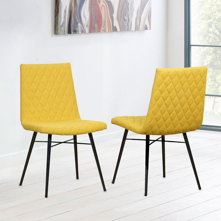 Yellow Dining Chairs: Yellow Fabric Quilted Back Dining Chair, 2 Pack