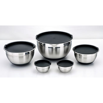 Kirkland Signature Stainless Steel Mixing Bowls, 5 Piece Set with Lids