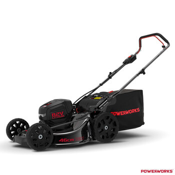 Powerworks 82V Cordless 46cm Self Propelled Lawn Mower + 82V Battery + Charger