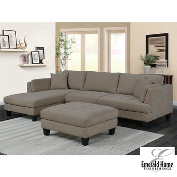 Noel Fabric Sectional Sofa with Ottoman + 2 Accent Pillows