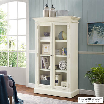 Universal Furniture Elida 168 cm / 5.5 ft Glass Door Bookcase with Adjustable Shelves