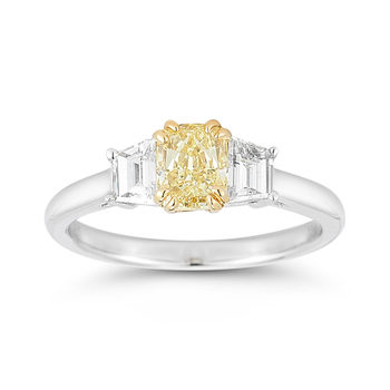 1.36ctw Princess Cut Yellow Diamond Ring, Platinum