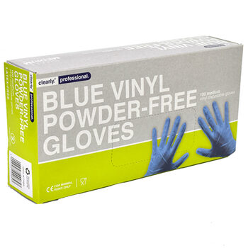 Clearly Professional Blue Vinyl Gloves, Pack of 100