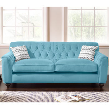 Avante Button Back 2 Seater Velvet Sofa with 2 Accent Pillows in 4 Colours