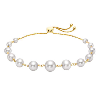 3.5-9mm Cultured Freshwater White Pearl Bolo Bracelet, 14ct Yellow Gold