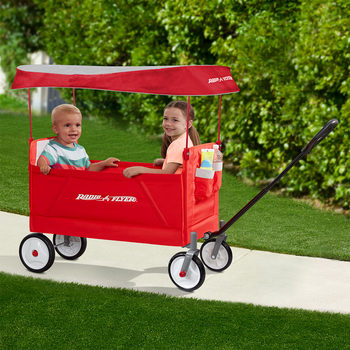Radio Flyer EZ Folding Ride On Wagon With Folding UV Canopy (18+ Months)