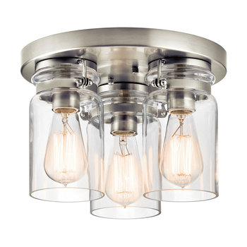 Kichler Brinley Three Light Flush Ceiling Light in Brushed Nickel