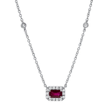 0.30ct Octagon Cut Ruby and 0.12ctw Diamond Pendant, 18ct White Gold