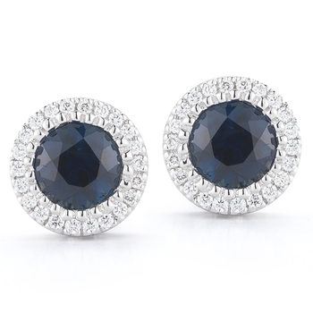 1.00ctw Round Cut Blue Sapphire and 0.12ctw Diamond Stud Earrings, 18ct White Gold