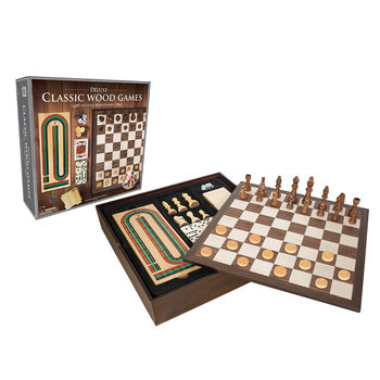 Classic Wood 6 in 1 Game Set in Natural Wood (6+ Years)