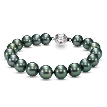 8-9mm Tahitian Pearl Bracelet, 18ct White Gold