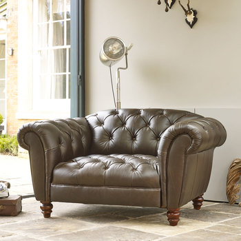 Wellington Semi Aniline Leather Chesterfield Snuggler Chair, Chocolate