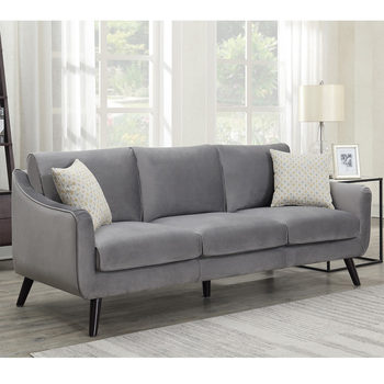 Bainbridge Grey Velvet 3 Seater Sofa