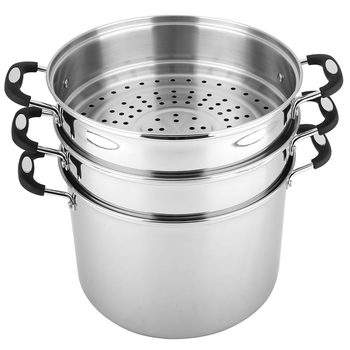 Linkfair Stainless Steel Stockpot with 2 Steamers, 16.1L