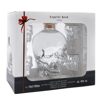 Crystal Head Vodka Gift Pack with 4 Shot Glasses, 70cl