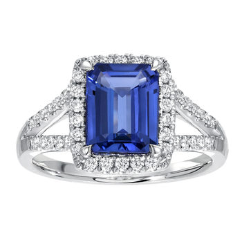 2.05ct Octagon Cut Tanzanite and 0.32ctw Diamond Ring, 18ct White Gold