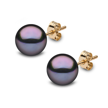 8-8.5mm Cultured Freshwater Black Pearl Stud Earrings, 18ct Yellow Gold